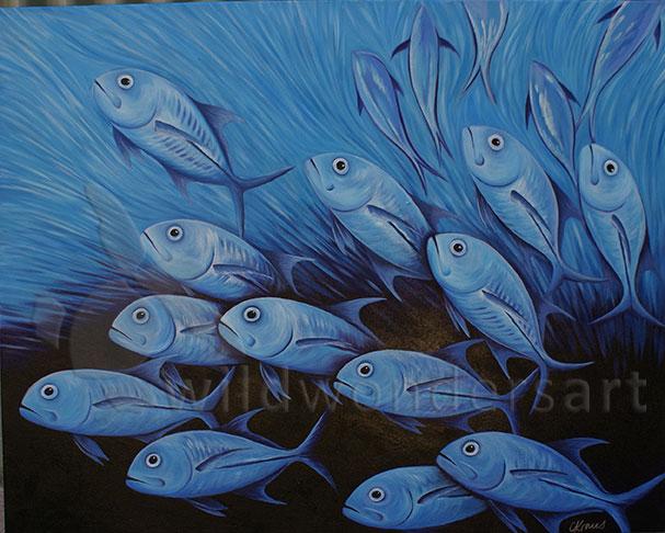 trevally underwater painting